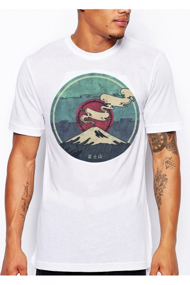 Short Mountain Graphic Tee Round Neck Sleeve Printed Chinese fqgxpSwIS