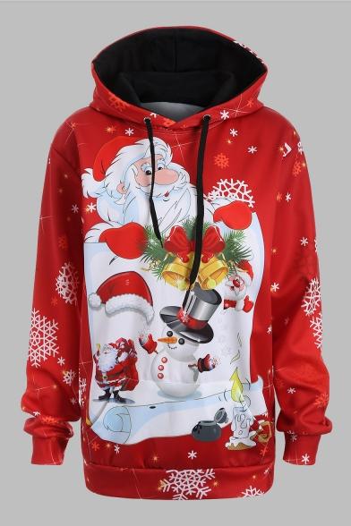 Christmas Printed Long Sleeve Loose Hoodie