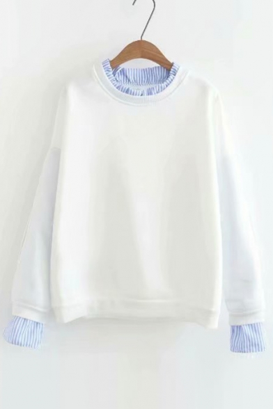 Contrast Striped Trim Fake Two Pieces Round Neck Long Sleeve Sweatshirt