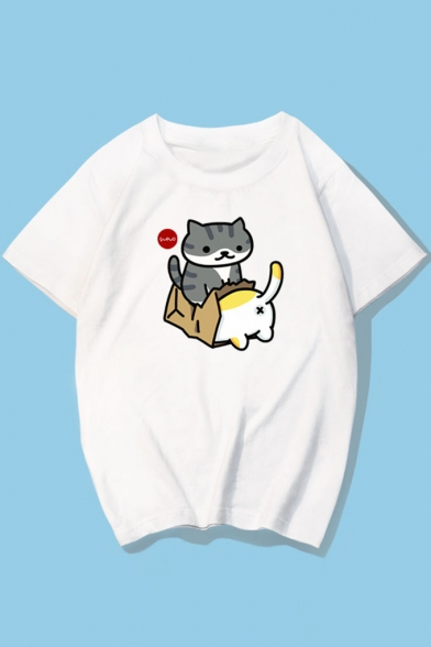 Shirt Printed T Neck Round Couple for Sleeve Cartoon Cat Cute Short RnAS8E8q