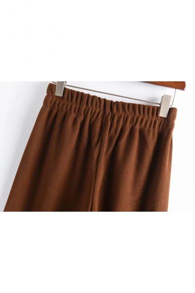 Elastic Waist Plain Ribbed Knit Leisure Crop Wide Leg Pants