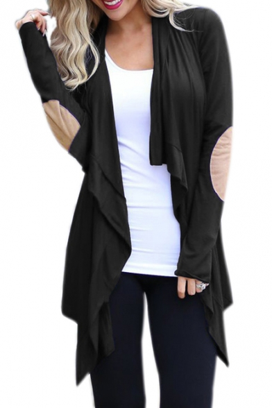 Elbow Patched Long Sleeve Collarless Open Front Asymmetric Jacket