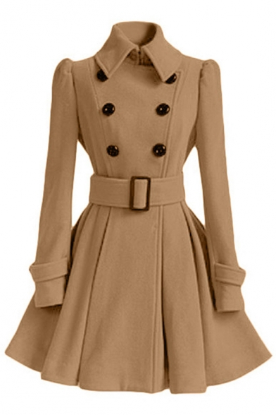 Lapel Collar Long Sleeve Double Breasted Slim Belted Waist Plain Tunic Woolen Coat
