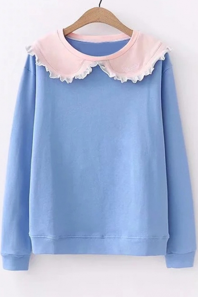 Collar Sweatshirt Sleeve Long Letter Doll Embroidered Leisure xYWnnEZ