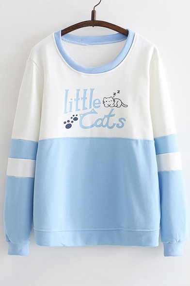LITTLE CATS Letter Animal Printed Color Block Round Neck Long Sleeve Sweatshirt