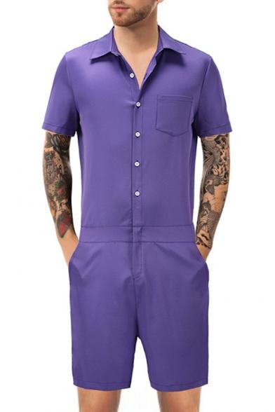 Men's Lapel Collar Button Front Short Sleeve Plain Romper