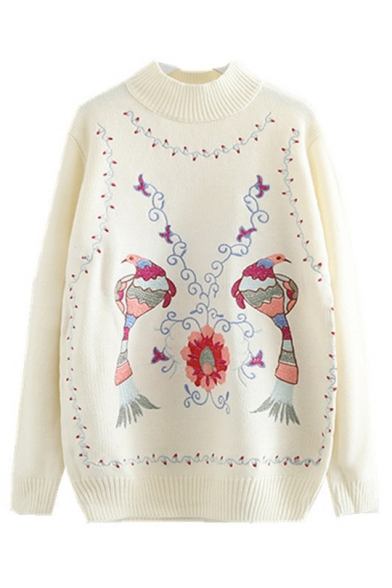long Sleeve Sweater Embroidered Floral Mock Bird Neck qzFqCT
