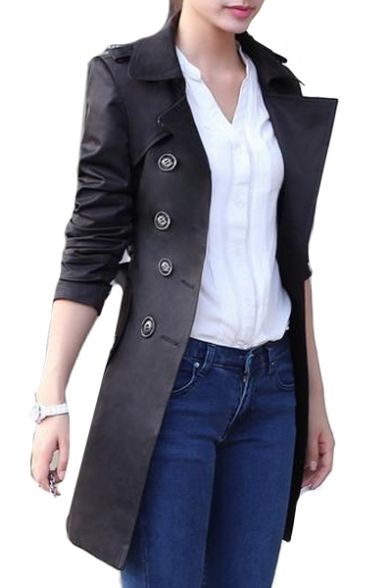 Notched Lapel Collar Long Sleeve Plain Double Breasted Tunic Self Tie Waist Trench Coat