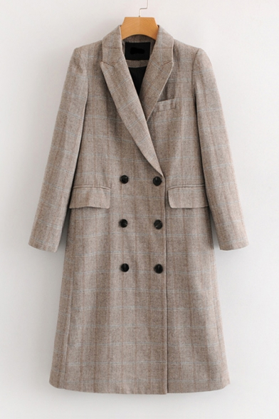Coat Sleeve Lapel Long Plaid Breasted Double Tunic Collar Notched Printed zxnR0wT