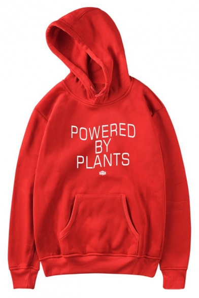 POWERED BY Long Hoodie Sleeve Casual Printed PLANTS Letter UUwqB6r