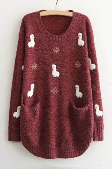 Sleeve Long Sweater Lamb Pattern Round Applique Neck Tunic SAqTx67