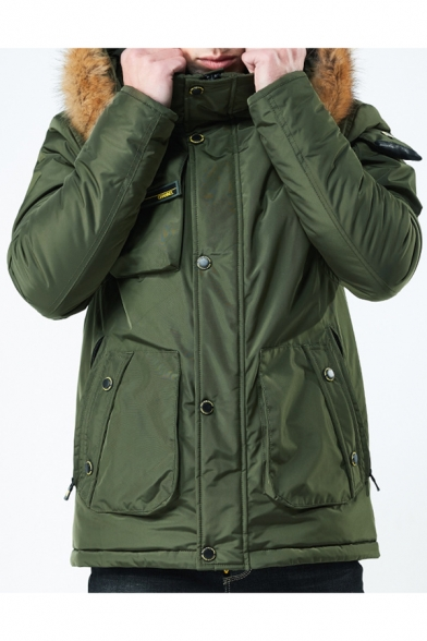 Zip Up Long Sleeve Plain Warm Hooded Coat with Multi Pockets