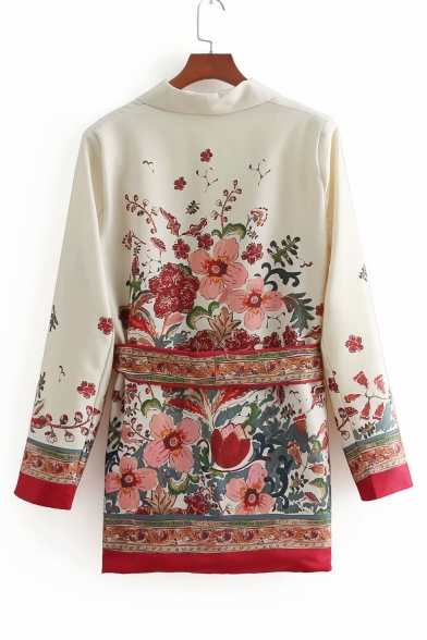 Chic Floral Printed Lapel Collar Long Sleeve Blazer