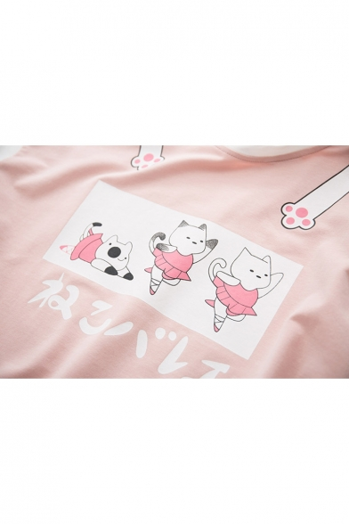Sweatshirt Printed Neck Long Block Round Cat Japanese Sleeve Color 8wtPqF