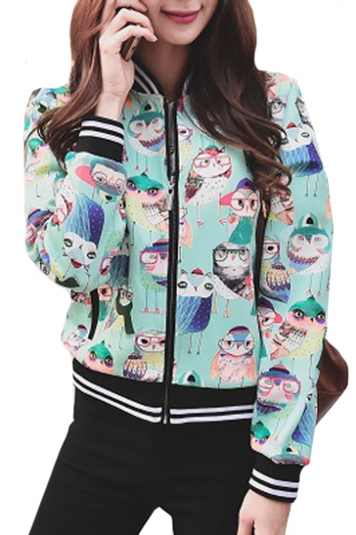 Contrast Striped Trim Stand Up Collar Cat Printed Long Sleeve Zip Up Baseball Jacket