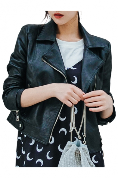 Notched Jacket PU Crop Plain Long Sleeve Cool Collar Lapel U0dw7Uq8