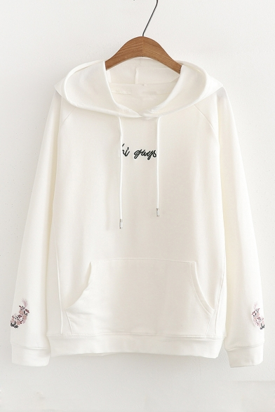 Floral GUYS Long Embroidered Letter HI Leisure Hoodie Sleeve qEwTvcd