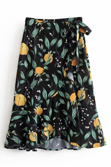 Lemon Leaf Printed Ruffle Trim Midi Wrap Skirt