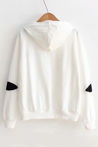 Embroidered Applique Long Hoodie Sleeve Letter Leisure P4dvq4n
