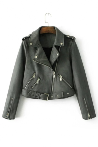 Notched Lapel Collar Long Sleeve Plain Suede Crop Biker Jacket