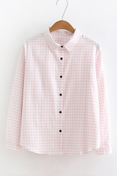 Plaid Printed Lapel Collar Button Up Long Sleeve Shirt