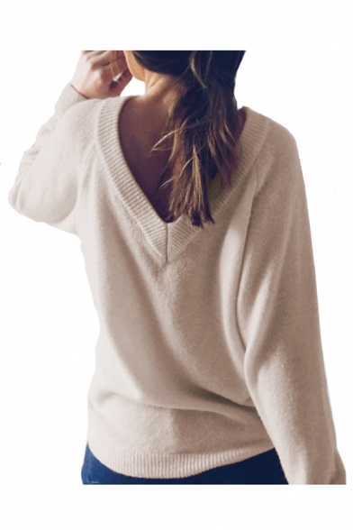 Sweater Long Plain Reversible Round Neck Sleeve EwXSqC