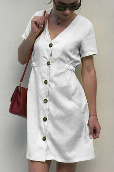 V Neck Short Sleeve Plain Button Front Elastic Waist Mini A-Line Dress