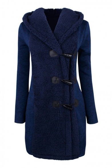 Button Closure Long Sleeve Patchwork Winter Warm Tunic Hooded Coat