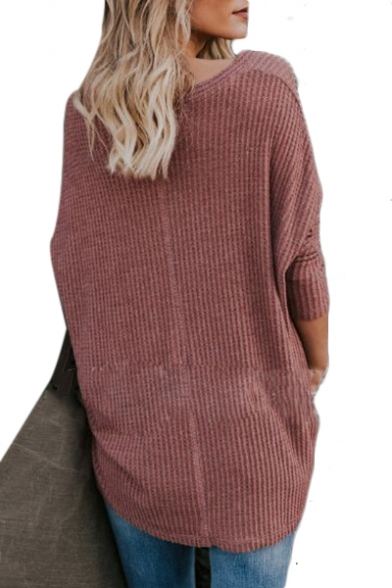 Button Front V Neck Long Sleeve Plain Textured Cardigan