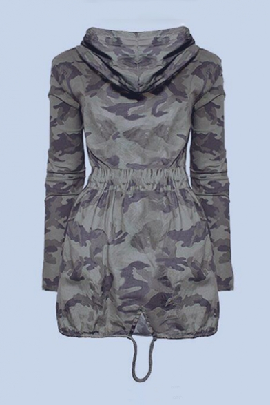 Camouflage Printed Long Sleeve Drawstring Waist Zip Up Tunic Hooded Coat