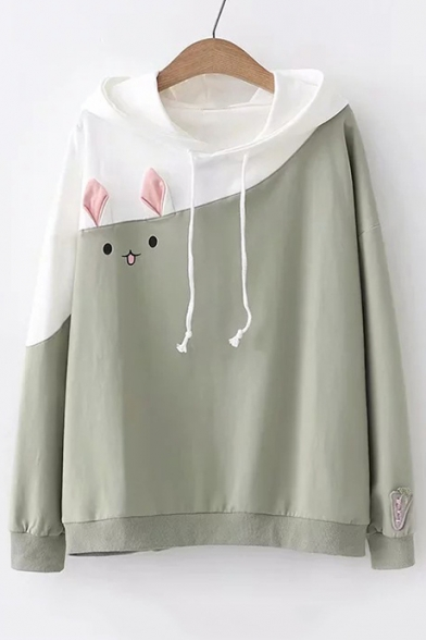 Long Rabbit Pattern Casual Sleeve Block Hoodie Color 5wItqpxt