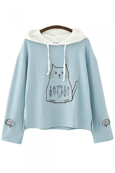 Embroidered Sleeve Hood Cat Loose Contrast Long Hoodie Fish gtpwWCq