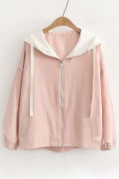 Contrast Hood Long Sleeve Leisure Hooded Jacket