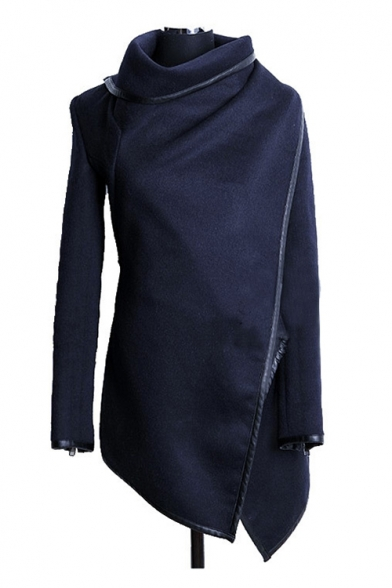Contrast Leather Trim High Neck Long Sleeve Asymmetric Coat