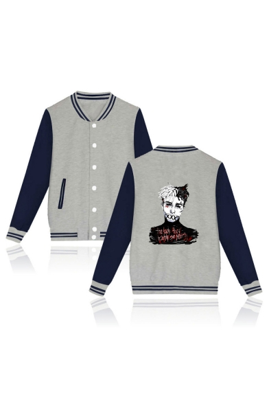Contrast Striped Color Block Character Printed Stand Up Collar Button Down Baseball Jacket