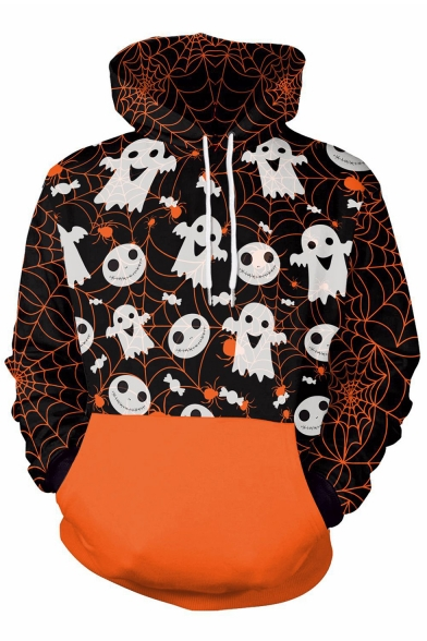 Halloween Ghost Spider Web Printed Long Sleeve Hoodie with Contrast Pocket