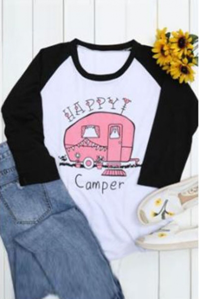 Color 4 Printed Raglan Length HAPPY Car Tee Letter 3 Round Sleeve Block Neck RFqxBTxw