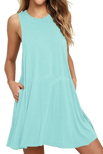 Loose Leisure Round Neck Sleeveless Plain Mini A-Line Dress
