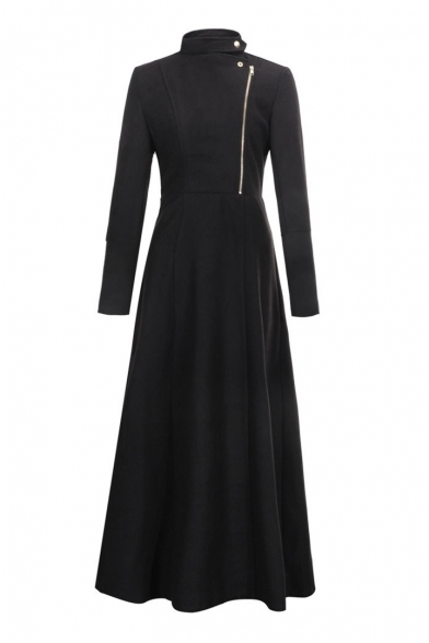 Stand Up Collar Zip Up Front Long Sleeve Plain Tunic Woolen Coat