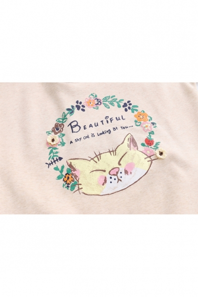 Lapel Fake Long Sweatshirt Collar Letter Sleeve BEAUTIFUL Printed Floral Two Pieces Cat SFU6n0Twnq