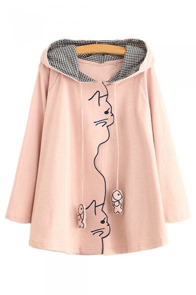 Fish Embellished Loose Embroidered Hoodie Sleeve Bow Long Cat qUw8x77B