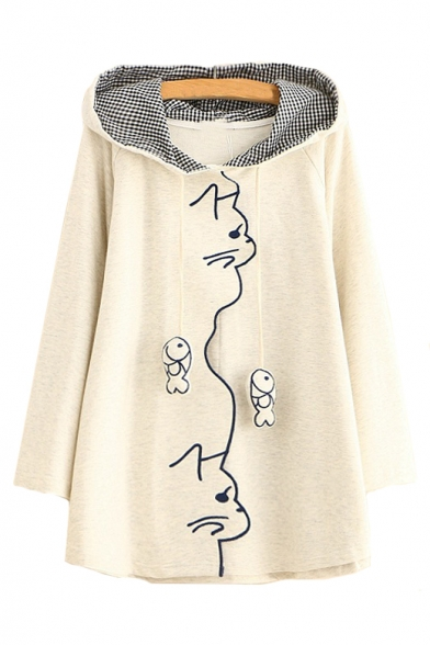 Long Embroidered Embellished Bow Cat Fish Sleeve Hoodie Loose T5cqv4IxwZ