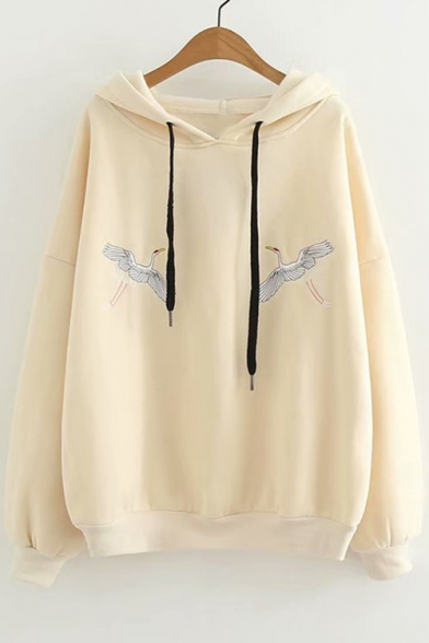 Hoodie Crane Long Embroidered Sleeve Chic Leisure wf6WBXWq