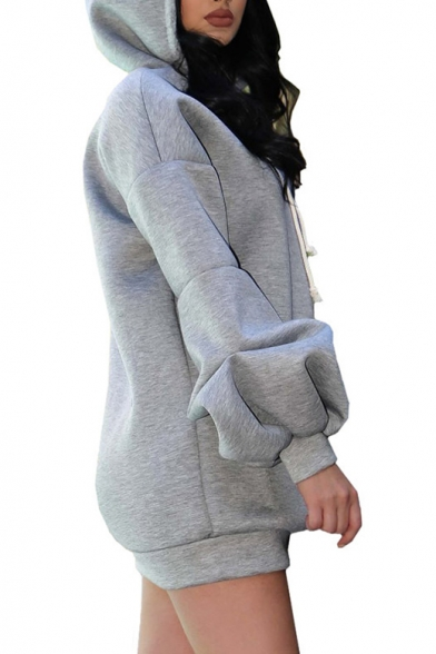 Hoodie Oversized Long Plain Sleeve Tunic Chic XxfTaT