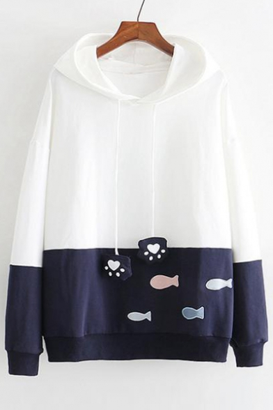 Color Block Fish Embroidered Long Sleeve Casual Hoodie
