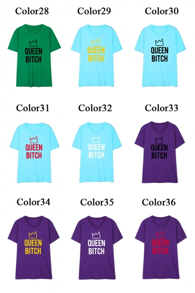 Crown QUEEN Letter Printed Short Shirt T BITCH Neck Sleeve Round WWSBna