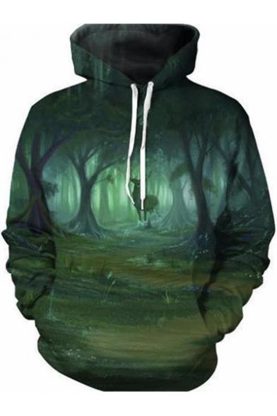 Forest Deer Printed Long Sleeve Oversized Hoodie