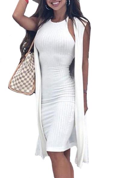 Halter Sleeveless Plain Ribbed Midi Pencil Dress