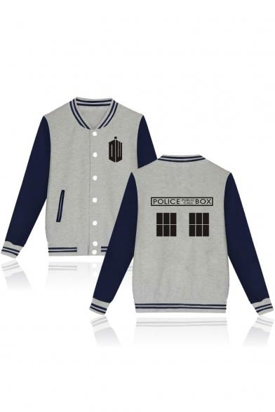 Letter Geometric Printed Color Block Contrast Striped Trim Long Sleeve Baseball Jacket
