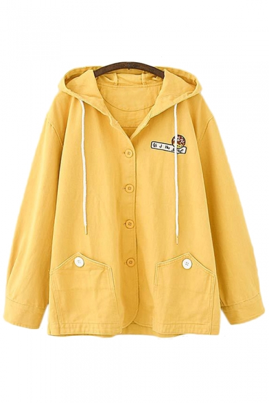 Letter Graphic Embroidered Button Front Long Sleeve Hooded Jacket